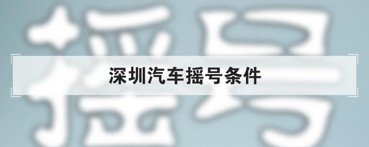 深圳汽车摇号条件